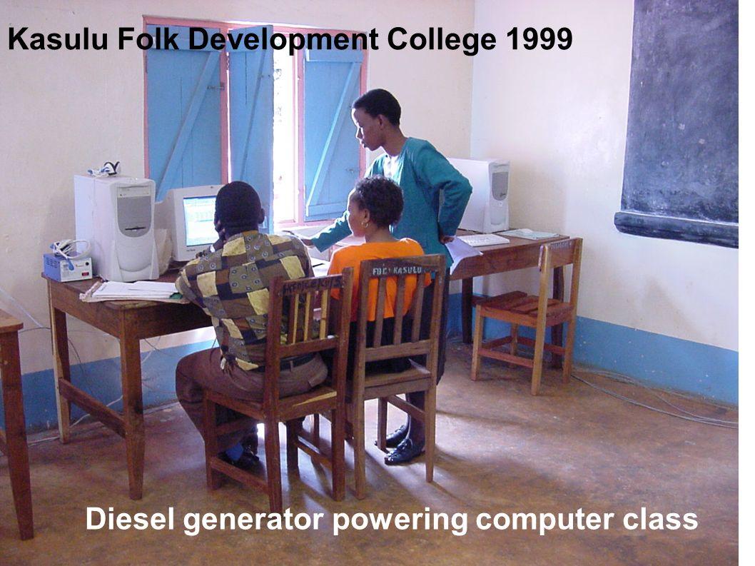 Kasulu Folk Development College 1999 Diesel generator powering computer class