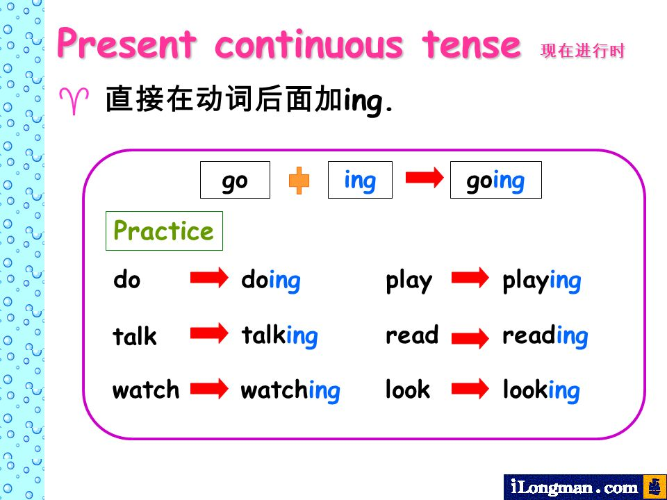 ing. go inggoing do talk watch play read look doing talking watching playing reading looking Present continuous tense Present continuous tense Practic