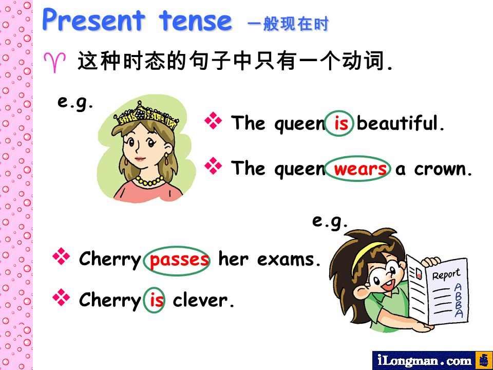 Present tense Present tense. e.g. The queen is beautiful. The queen wears a crown. e.g. Cherry passes her exams. Cherry is clever.
