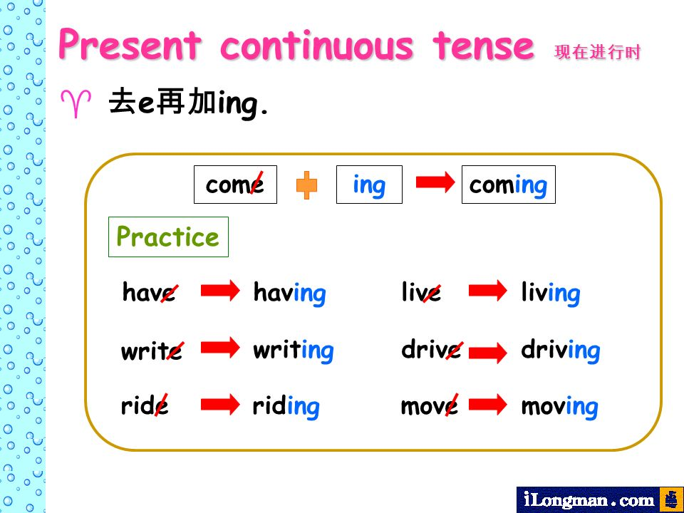 e ing. come ingcoming havehaving write writing rideriding liveliving drivedriving movemoving Present continuous tense Present continuous tense Practic