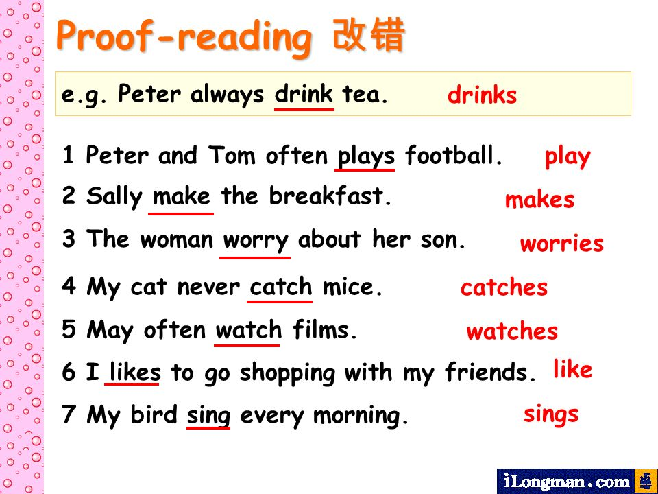 Proof-reading Proof-reading e.g. Peter always drink tea. drinks 1 Peter and Tom often plays football. 2 Sally make the breakfast. 3 The woman worry ab