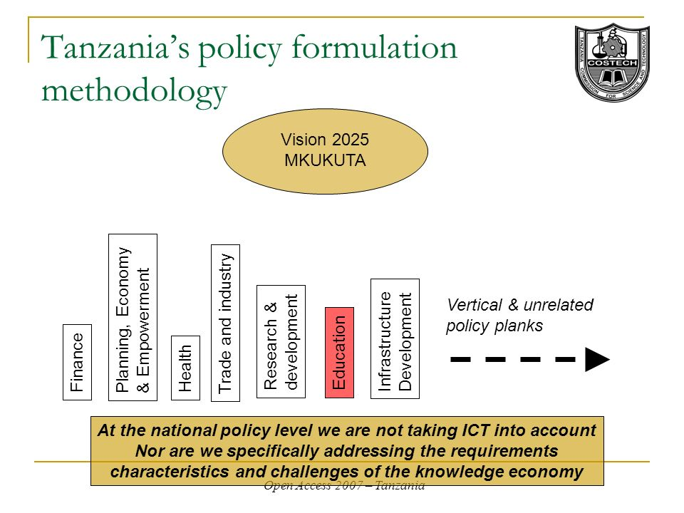 Open Access 2007 – Tanzania Tanzanias policy formulation methodology At the national policy level we are not taking ICT into account Nor are we specifically addressing the requirements characteristics and challenges of the knowledge economy Vision 2025 MKUKUTA FinanceHealth Education Trade and industry Planning, Economy & Empowerment Infrastructure Development Research & development Vertical & unrelated policy planks