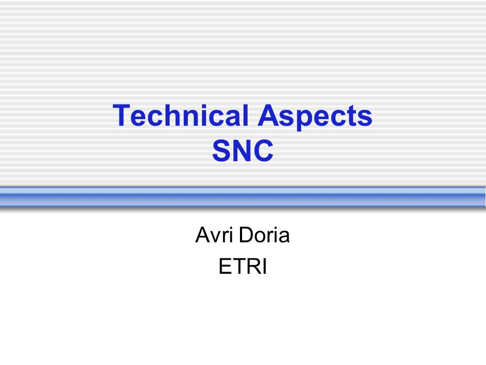 Technical Aspects SNC Avri Doria ETRI