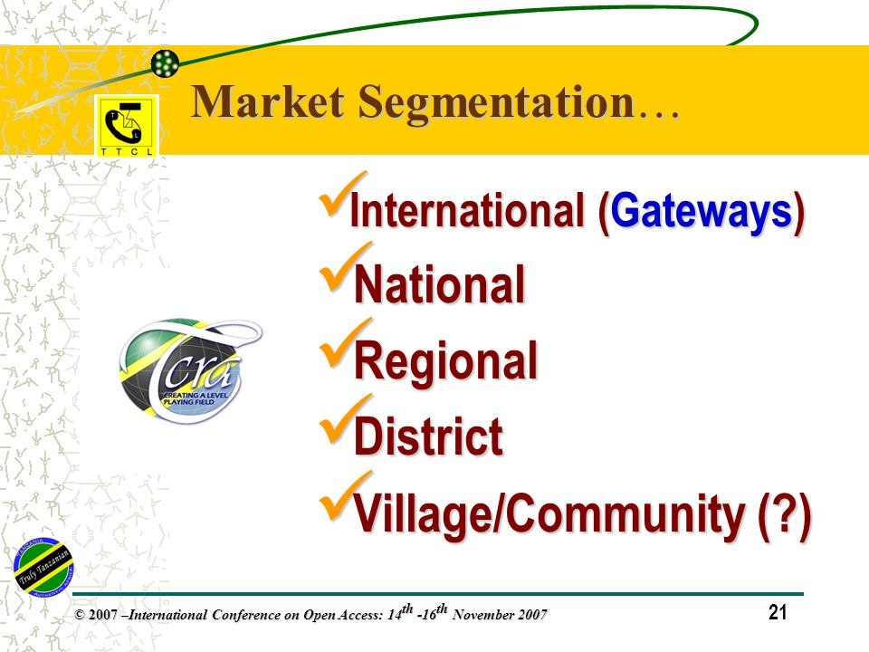 21 © 2007 – International Conference on Open Access: 14 th -16 th November 2007 International (Gateways) International (Gateways) National National Regional Regional District District Village/Community ( ) Village/Community ( ) Market Segmentation…