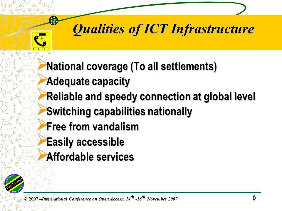 30 © 2007 – International Conference on Open Access: 14 th -16 th November 2007 Sector Performance Monitoring Indicators.… TeledensityTeledensity Tariff (voiceTariff (voice) Internet Service Providers (ISPs) Traffic (calls, SMS) - VoiceTraffic (calls, SMS) - Voice
