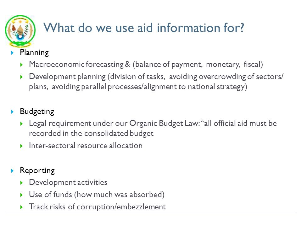 What do we use aid information for.