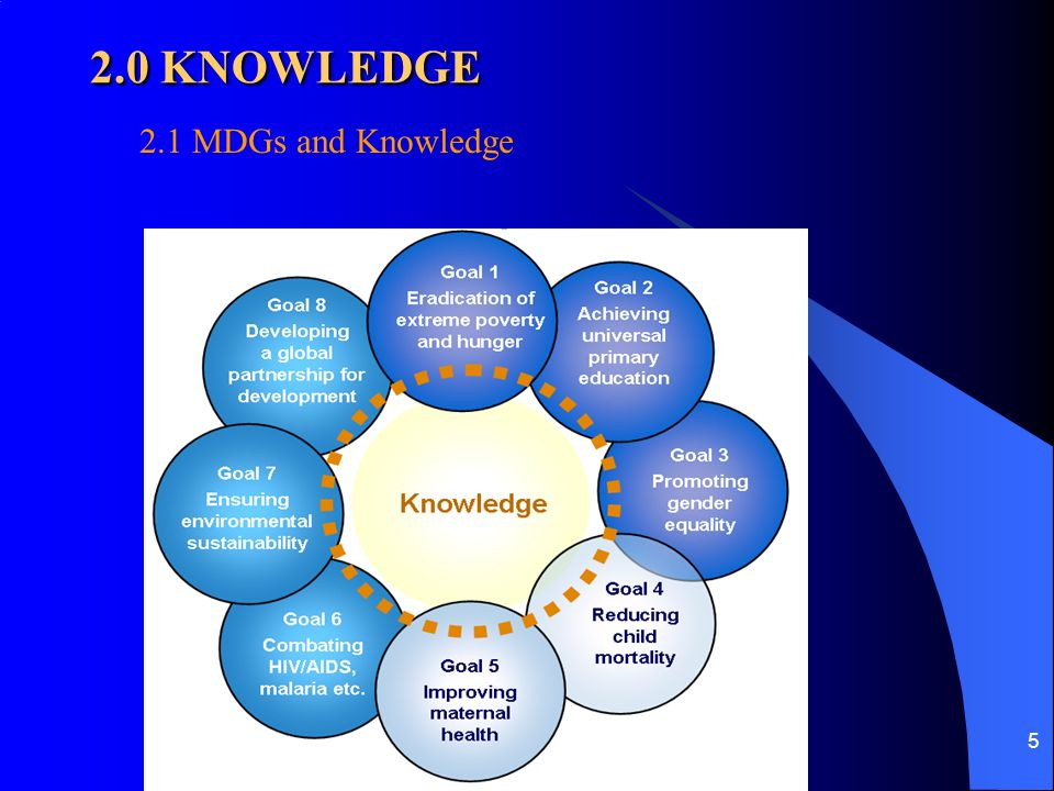 5 2.0 KNOWLEDGE 2.1 MDGs and Knowledge