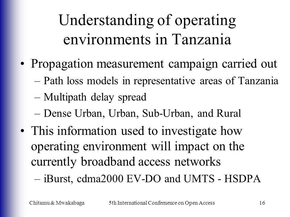 Chitamu & Mwakabaga5th International Confernence on Open Access16 Understanding of operating environments in Tanzania Propagation measurement campaign
