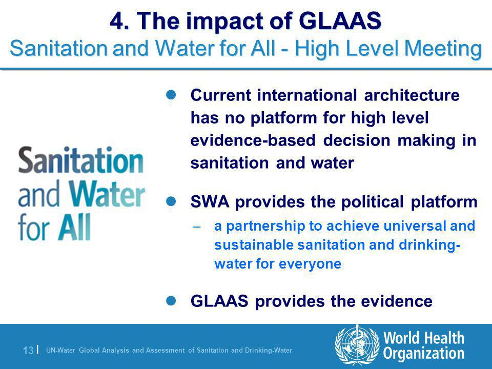 UN-Water Global Analysis and Assessment of Sanitation and Drinking-Water 13 | 4. The impact of GLAAS Sanitation and Water for All - High Level Meeting