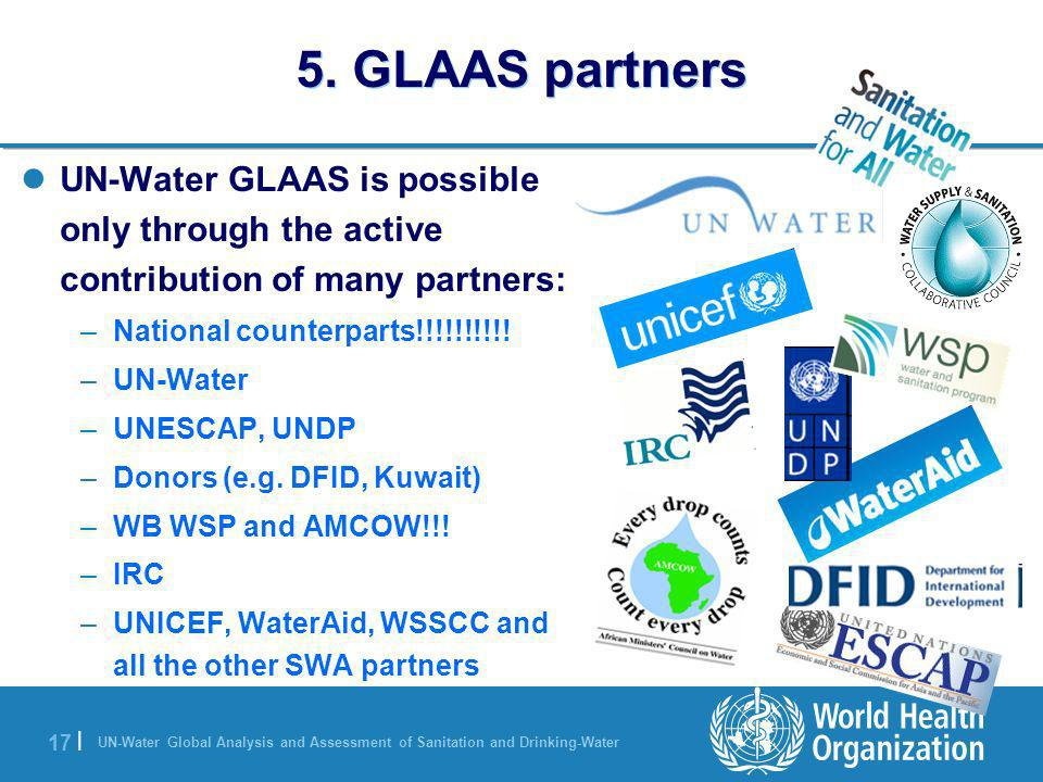 UN-Water Global Analysis and Assessment of Sanitation and Drinking-Water 17 | UN-Water GLAAS is possible only through the active contribution of many partners: –National counterparts!!!!!!!!!.