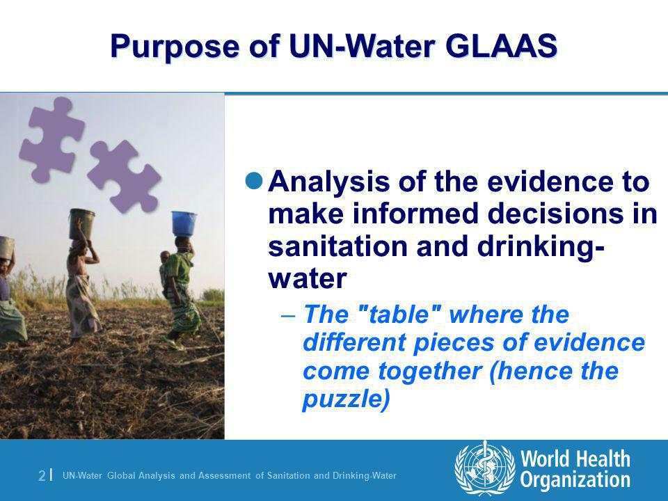 UN-Water Global Analysis and Assessment of Sanitation and Drinking-Water 2 |2 | Purpose of UN-Water GLAAS Analysis of the evidence to make informed decisions in sanitation and drinking- water –The table where the different pieces of evidence come together (hence the puzzle)
