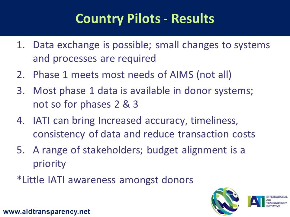 1.Data exchange is possible; small changes to systems and processes are required 2.Phase 1 meets most needs of AIMS (not all) 3.Most phase 1 data is available in donor systems; not so for phases 2 & 3 4.IATI can bring Increased accuracy, timeliness, consistency of data and reduce transaction costs 5.A range of stakeholders; budget alignment is a priority *Little IATI awareness amongst donors Country Pilots - Results www.aidtransparency.net