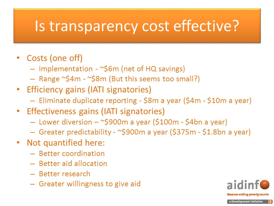 Is transparency cost effective.