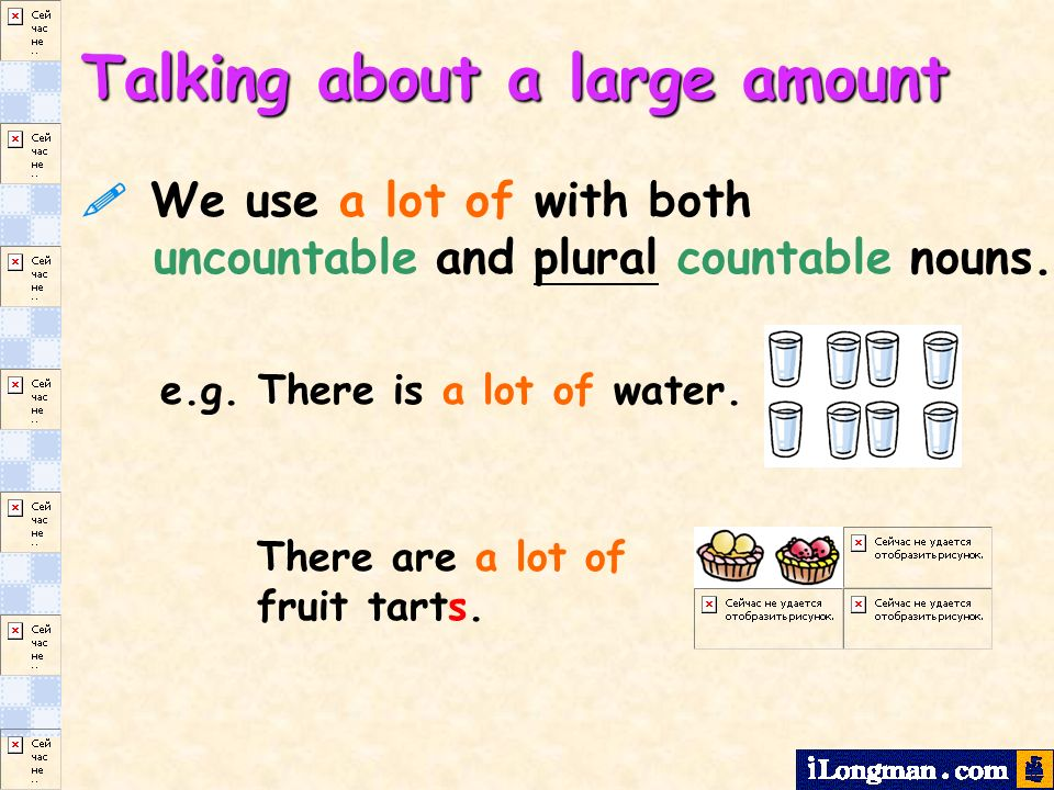 We use a lot of with both uncountable and plural countable nouns.