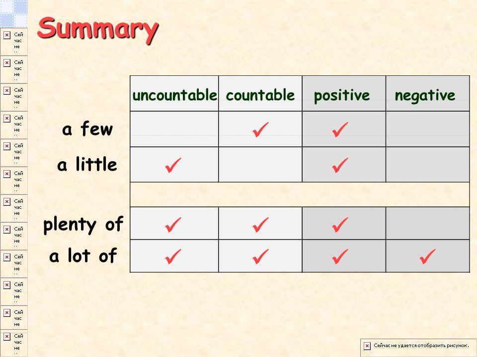 Summary a few a little plenty of a lot of uncountablecountablepositivenegative