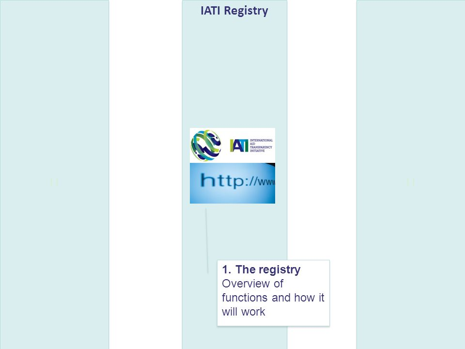 IATI Registry 1. The registry Overview of functions and how it will work