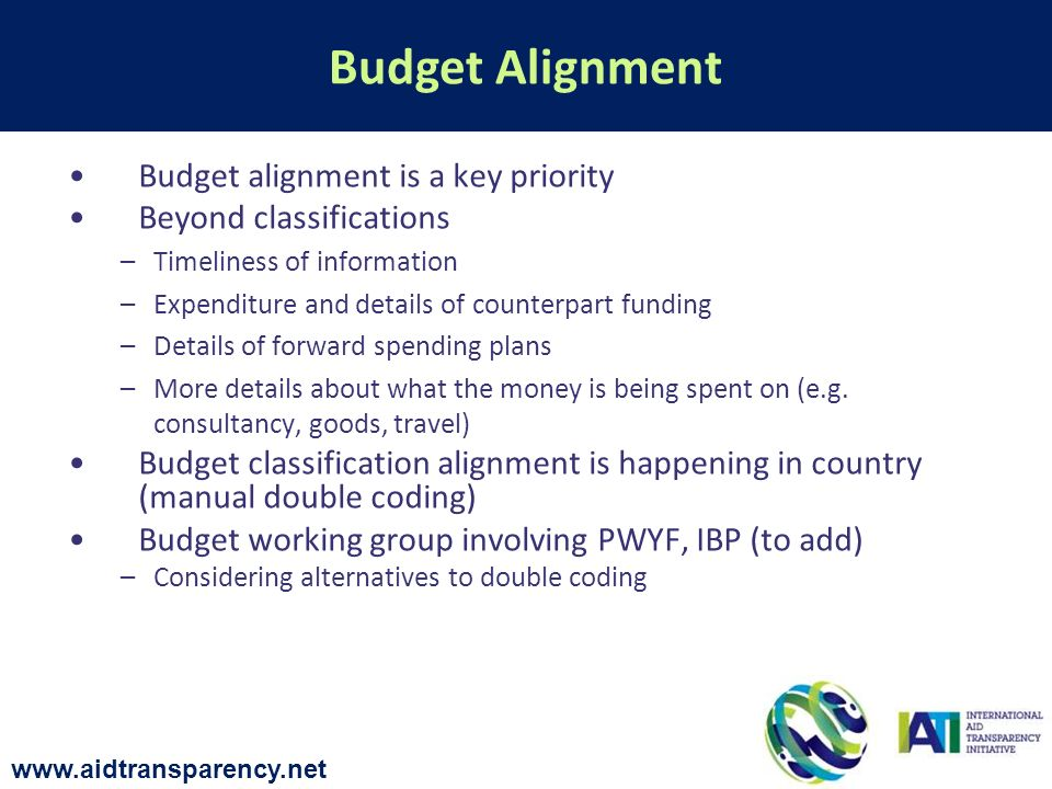 Budget alignment is a key priority Beyond classifications –Timeliness of information –Expenditure and details of counterpart funding –Details of forwa