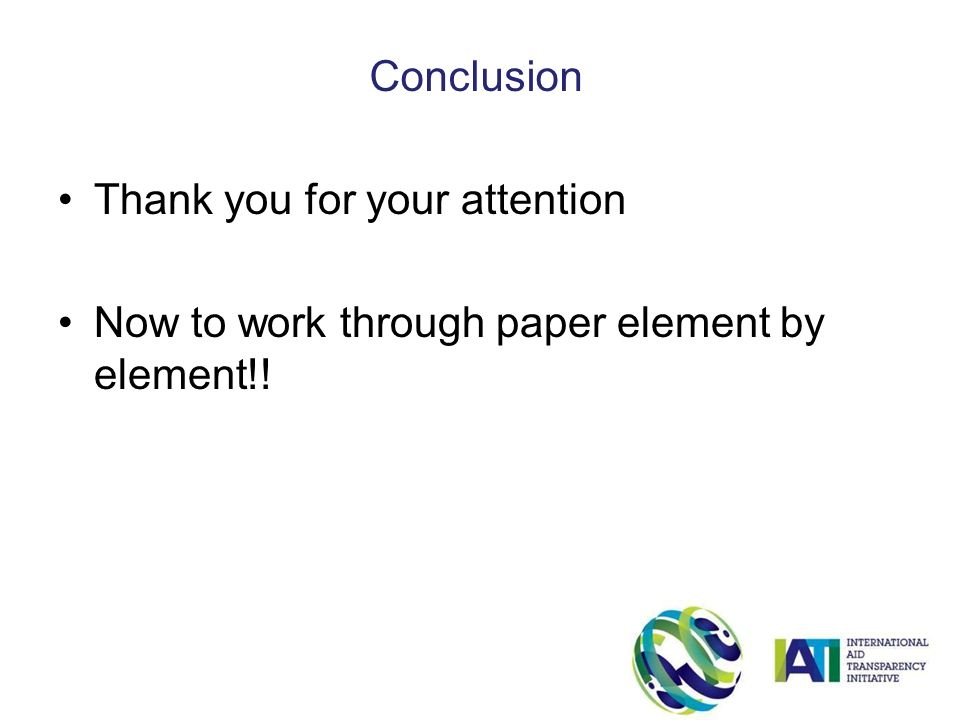 Thank you for your attention Now to work through paper element by element!! Conclusion