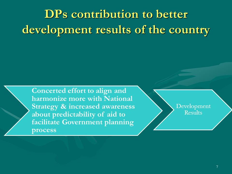 7 DPs contribution to better development results of the country Concerted effort to align and harmonize more with National Strategy & increased awaren