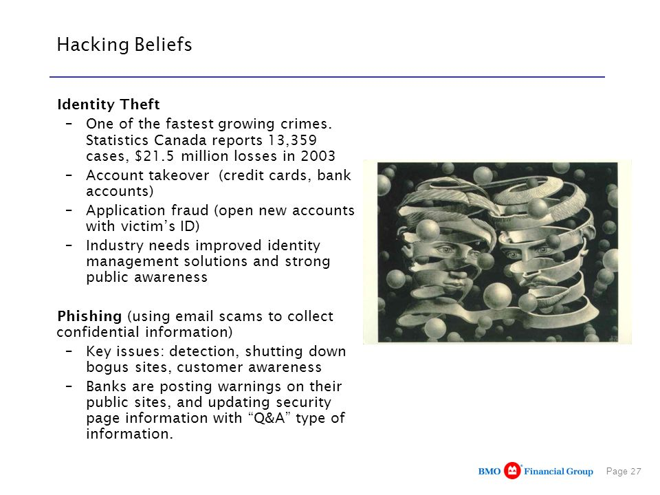 Page 27 Hacking Beliefs Identity Theft –One of the fastest growing crimes.