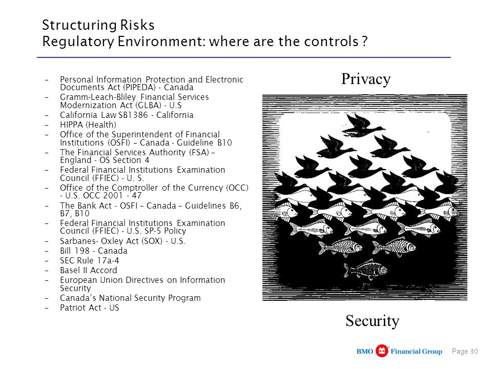 Page 30 Structuring Risks Regulatory Environment: where are the controls ? –Personal Information Protection and Electronic Documents Act (PIPEDA) - Ca