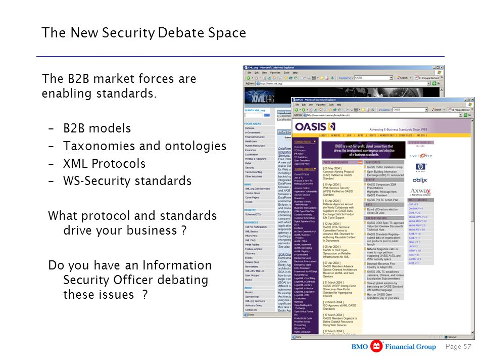 Page 57 The New Security Debate Space The B2B market forces are enabling standards. –B2B models –Taxonomies and ontologies –XML Protocols –WS-Security