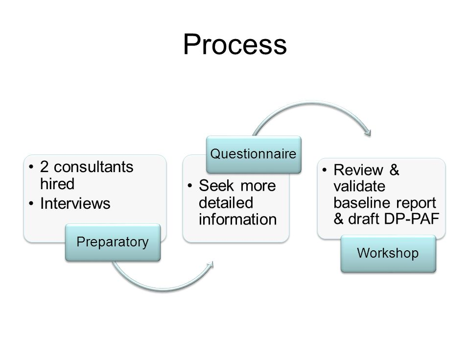 Process 2 consultants hired Interviews Preparatory Seek more detailed information Questionnaire Review & validate baseline report & draft DP-PAF Workshop