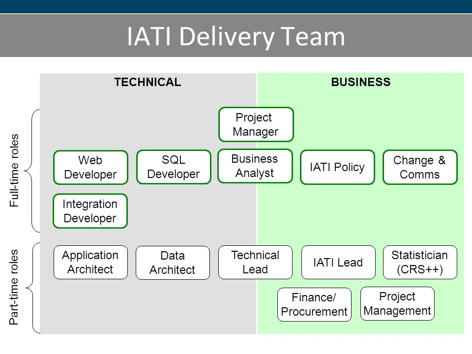 BUSINESS TECHNICAL IATI Delivery Team Project Manager Business Analyst IATI Lead IATI Policy Statistician (CRS++) SQL Developer Web Developer Application Architect Data Architect Technical Lead Integration Developer Full-time roles Part-time roles Change & Comms Finance/ Procurement Project Management