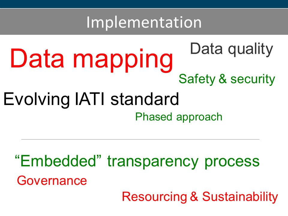 Implementation Data mapping Safety & security Embedded transparency process Data quality Governance Evolving IATI standard Resourcing & Sustainability Phased approach