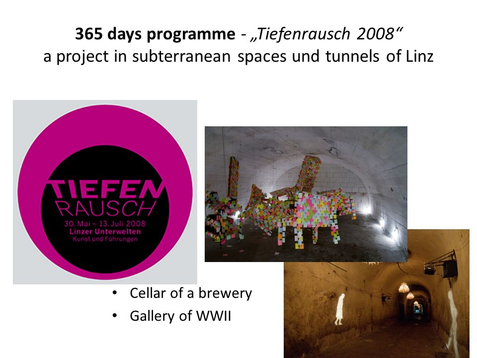 365 days programme - Tiefenrausch 2008 a project in subterranean spaces und tunnels of Linz Cellar of a brewery Gallery of WWII