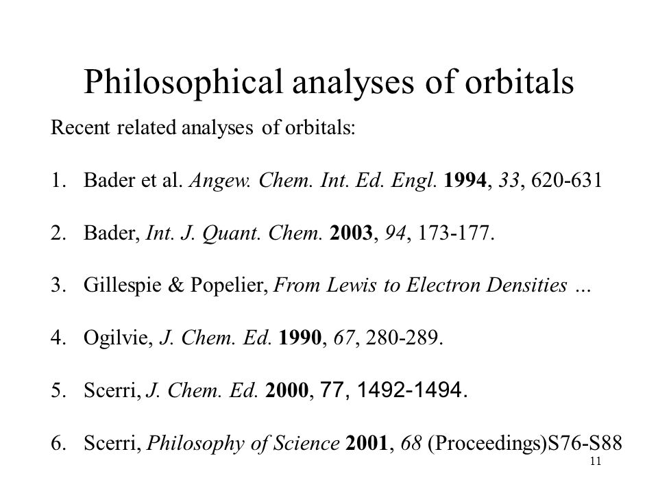 11 Philosophical analyses of orbitals Recent related analyses of orbitals: 1.Bader et al.