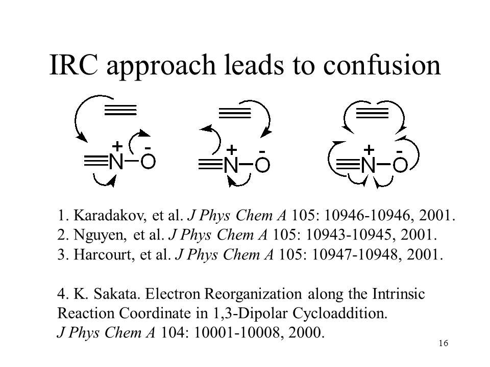 16 IRC approach leads to confusion 1. Karadakov, et al. J Phys Chem A 105: 10946-10946, 2001. 2. Nguyen, et al. J Phys Chem A 105: 10943-10945, 2001.