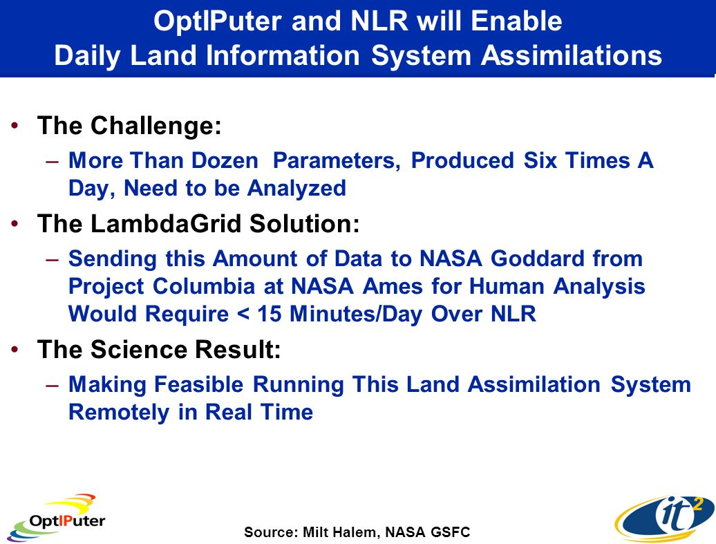 OptIPuter and NLR will Enable Daily Land Information System Assimilations The Challenge: –More Than Dozen Parameters, Produced Six Times A Day, Need to be Analyzed The LambdaGrid Solution: –Sending this Amount of Data to NASA Goddard from Project Columbia at NASA Ames for Human Analysis Would Require < 15 Minutes/Day Over NLR The Science Result: –Making Feasible Running This Land Assimilation System Remotely in Real Time Source: Milt Halem, NASA GSFC