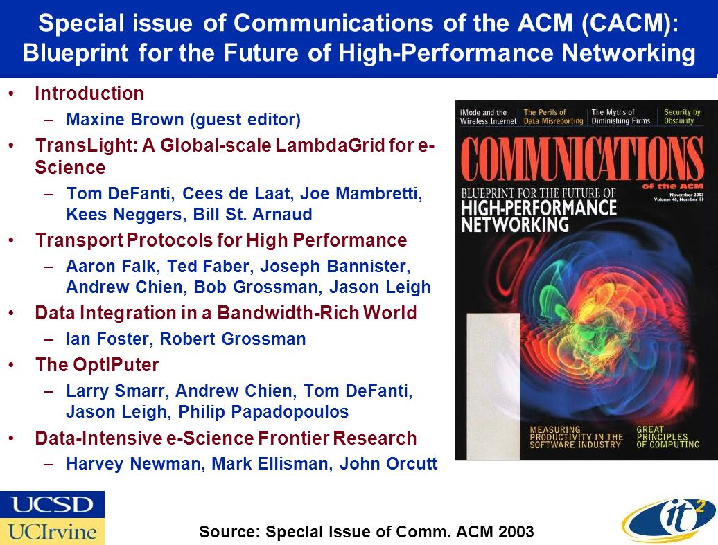 Special issue of Communications of the ACM (CACM): Blueprint for the Future of High-Performance Networking Introduction –Maxine Brown (guest editor) TransLight: A Global-scale LambdaGrid for e- Science –Tom DeFanti, Cees de Laat, Joe Mambretti, Kees Neggers, Bill St.