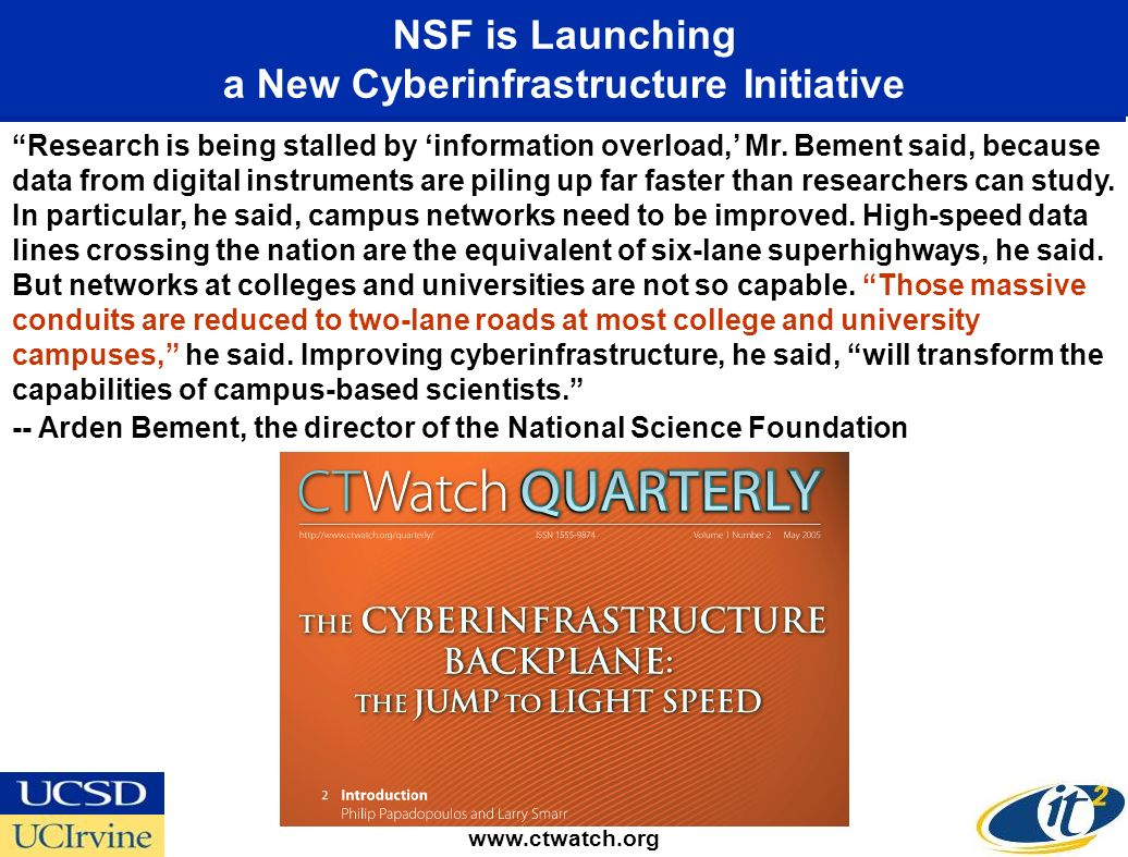 NSF is Launching a New Cyberinfrastructure Initiative www.ctwatch.org Research is being stalled by information overload, Mr.