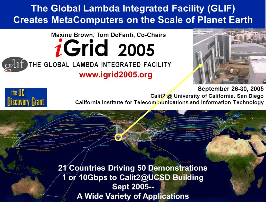 September 26-30, 2005 Calit2 @ University of California, San Diego California Institute for Telecommunications and Information Technology The Global Lambda Integrated Facility (GLIF) Creates MetaComputers on the Scale of Planet Earth i Grid 2005 T H E G L O B A L L A M B D A I N T E G R A T E D F A C I L I T Y Maxine Brown, Tom DeFanti, Co-Chairs www.igrid2005.org 21 Countries Driving 50 Demonstrations 1 or 10Gbps to Calit2@UCSD Building Sept 2005-- A Wide Variety of Applications