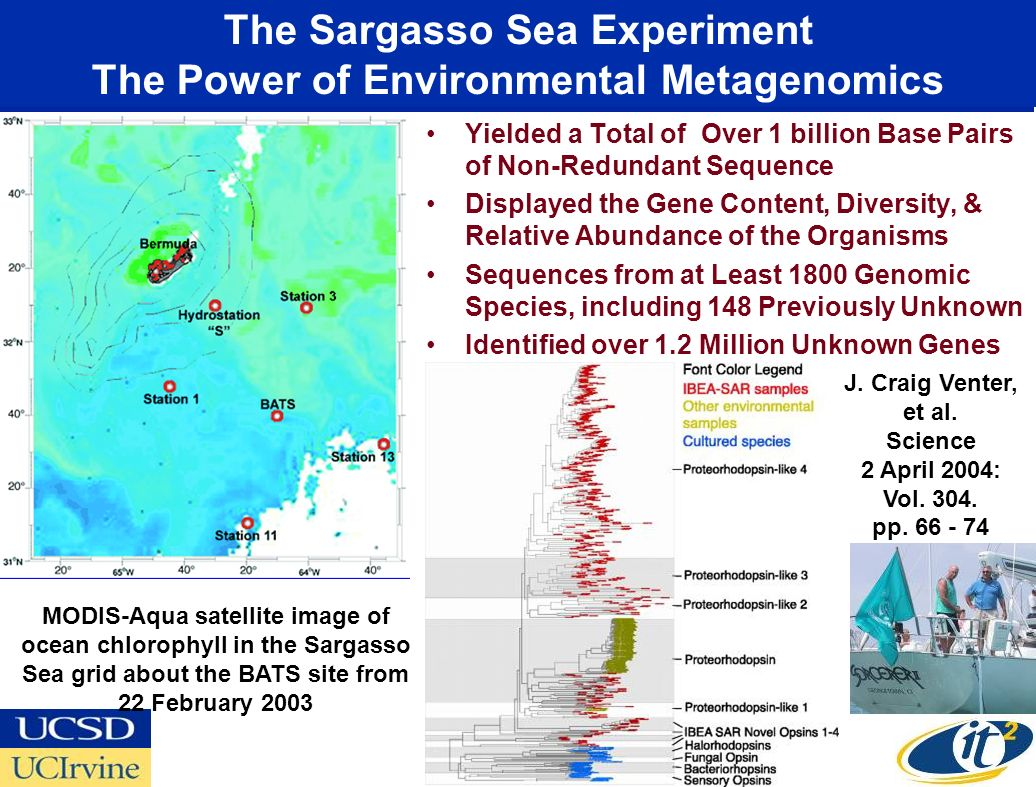 The Sargasso Sea Experiment The Power of Environmental Metagenomics Yielded a Total of Over 1 billion Base Pairs of Non-Redundant Sequence Displayed the Gene Content, Diversity, & Relative Abundance of the Organisms Sequences from at Least 1800 Genomic Species, including 148 Previously Unknown Identified over 1.2 Million Unknown Genes MODIS-Aqua satellite image of ocean chlorophyll in the Sargasso Sea grid about the BATS site from 22 February 2003 J.