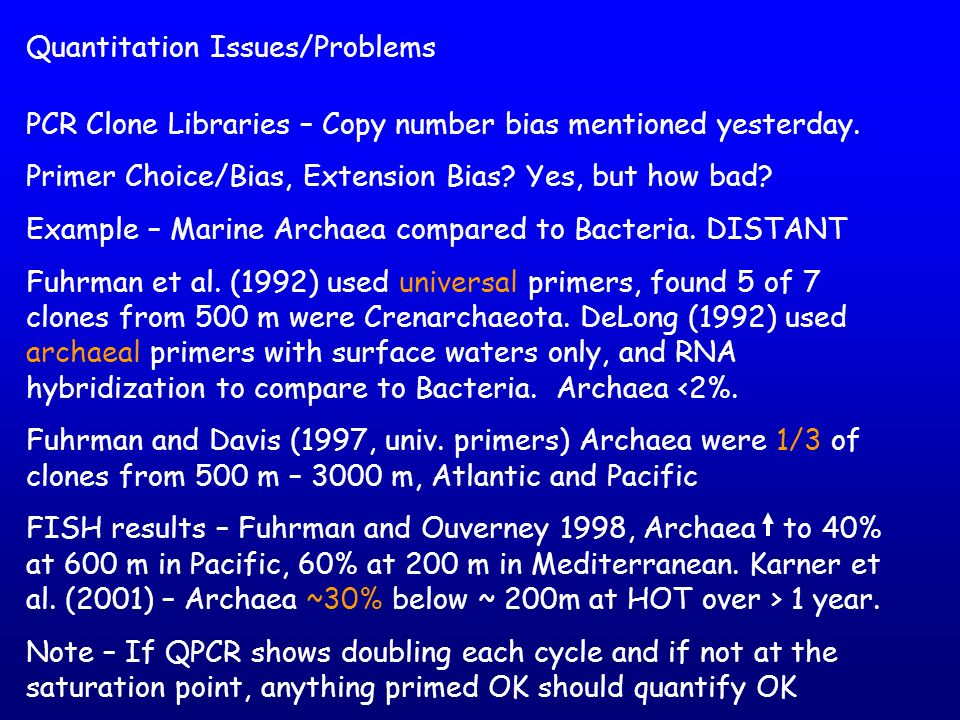 Quantitation Issues/Problems PCR Clone Libraries – Copy number bias mentioned yesterday. Primer Choice/Bias, Extension Bias? Yes, but how bad? Example