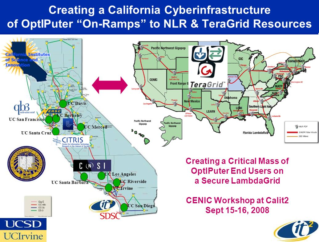Creating a California Cyberinfrastructure of OptIPuter On-Ramps to NLR & TeraGrid Resources UC San Francisco UC San Diego UC Riverside UC Irvine UC Davis UC Berkeley UC Santa Cruz UC Santa Barbara UC Los Angeles UC Merced Creating a Critical Mass of OptIPuter End Users on a Secure LambdaGrid CENIC Workshop at Calit2 Sept 15-16, 2008