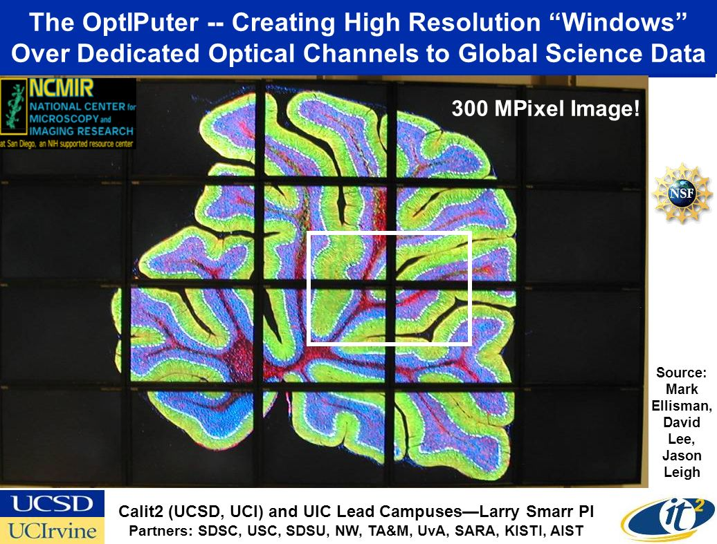 The OptIPuter -- Creating High Resolution Windows Over Dedicated Optical Channels to Global Science Data Source: Mark Ellisman, David Lee, Jason Leigh 300 MPixel Image.