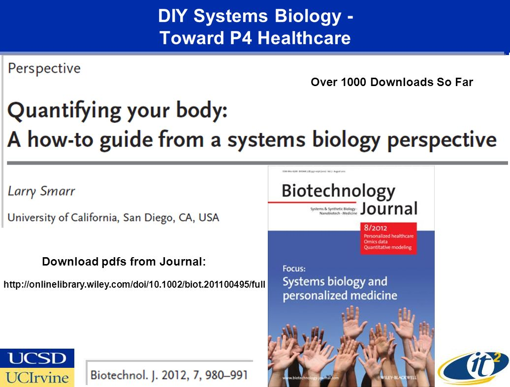 DIY Systems Biology - Toward P4 Healthcare Download pdfs from Journal: Over 1000 Downloads So Far http://onlinelibrary.wiley.com/doi/10.1002/biot.201100495/full