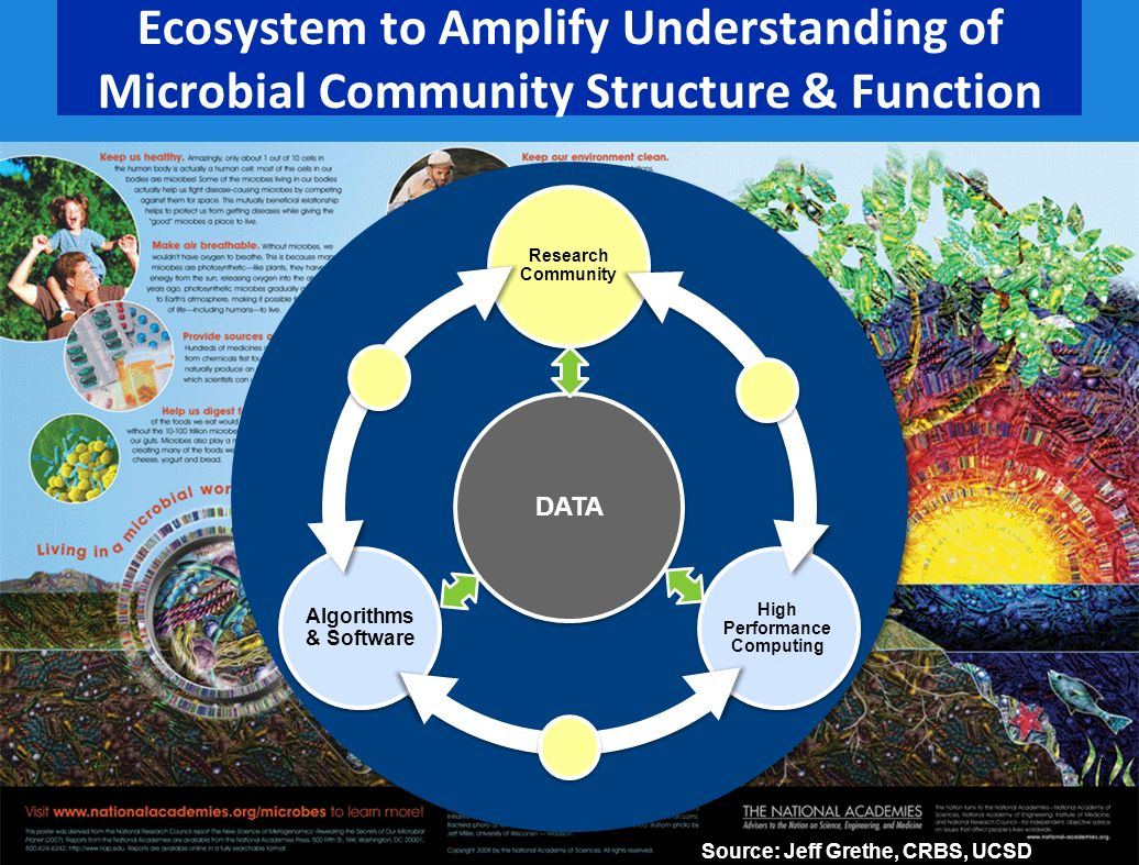 Ecosystem to Amplify Understanding of Microbial Community Structure & Function DATA Research Community High Performance Computing Algorithms & Software Source: Jeff Grethe, CRBS, UCSD