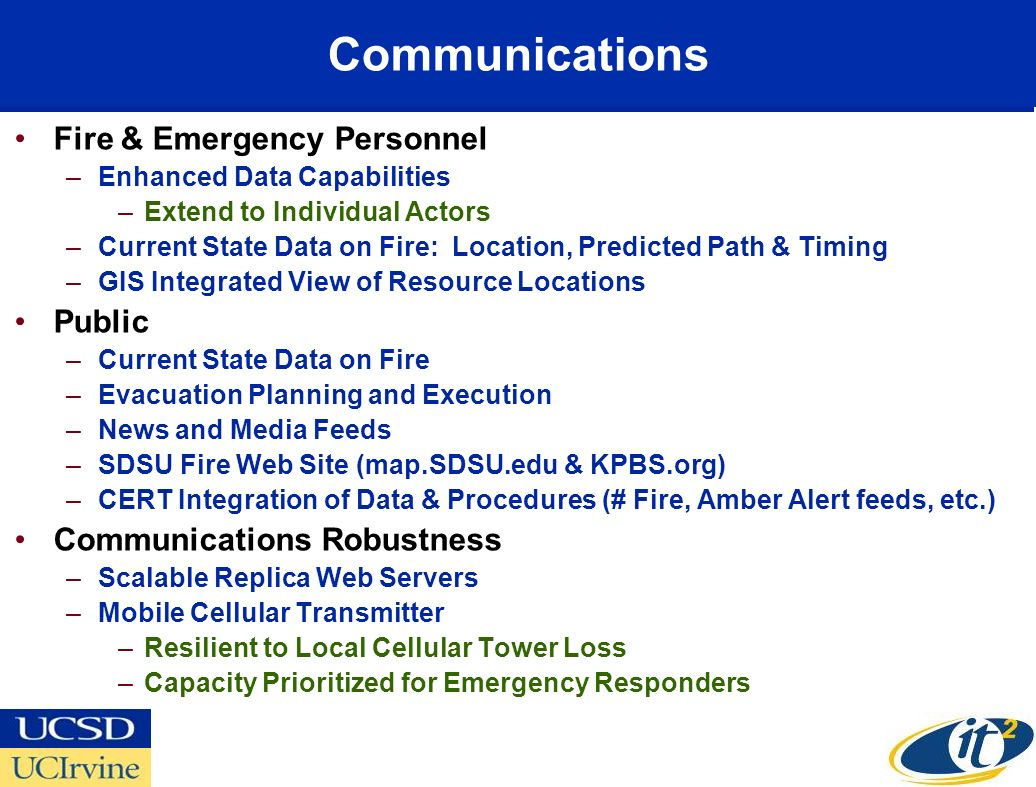 Communications Fire & Emergency Personnel –Enhanced Data Capabilities –Extend to Individual Actors –Current State Data on Fire: Location, Predicted Pa