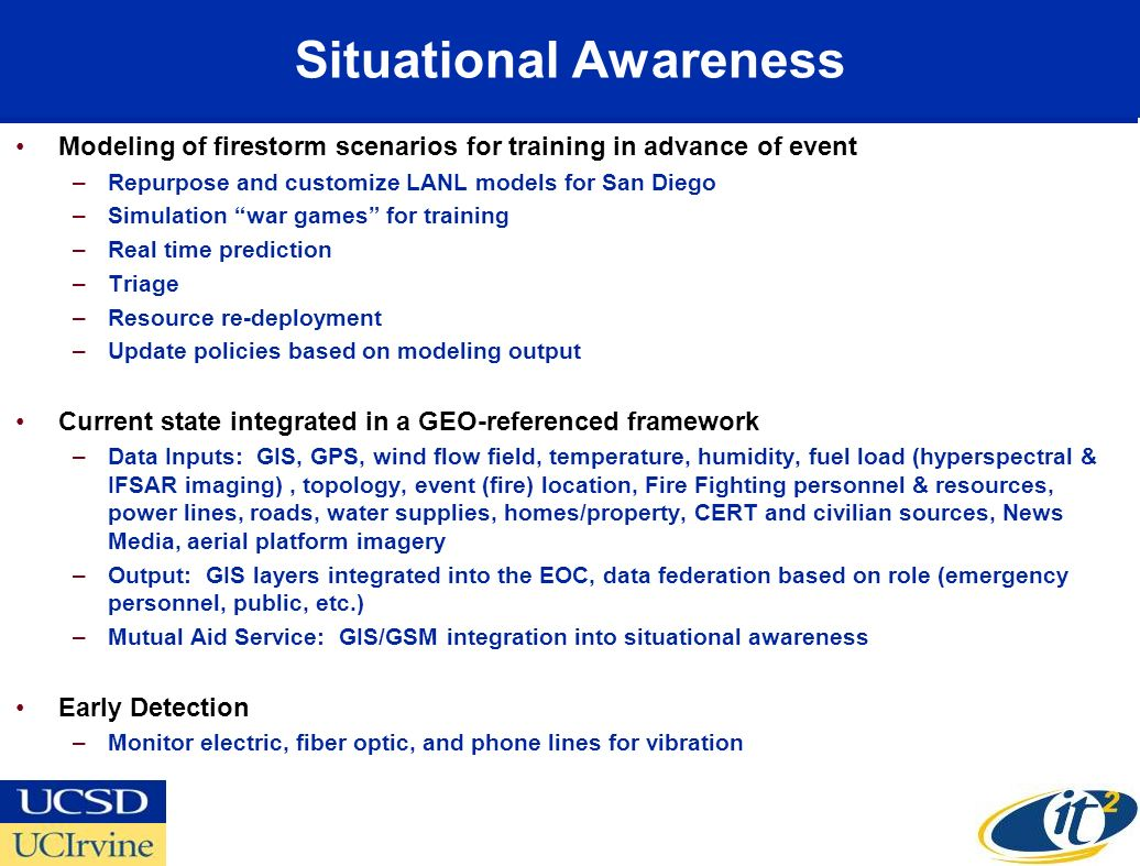 Situational Awareness Modeling of firestorm scenarios for training in advance of event –Repurpose and customize LANL models for San Diego –Simulation