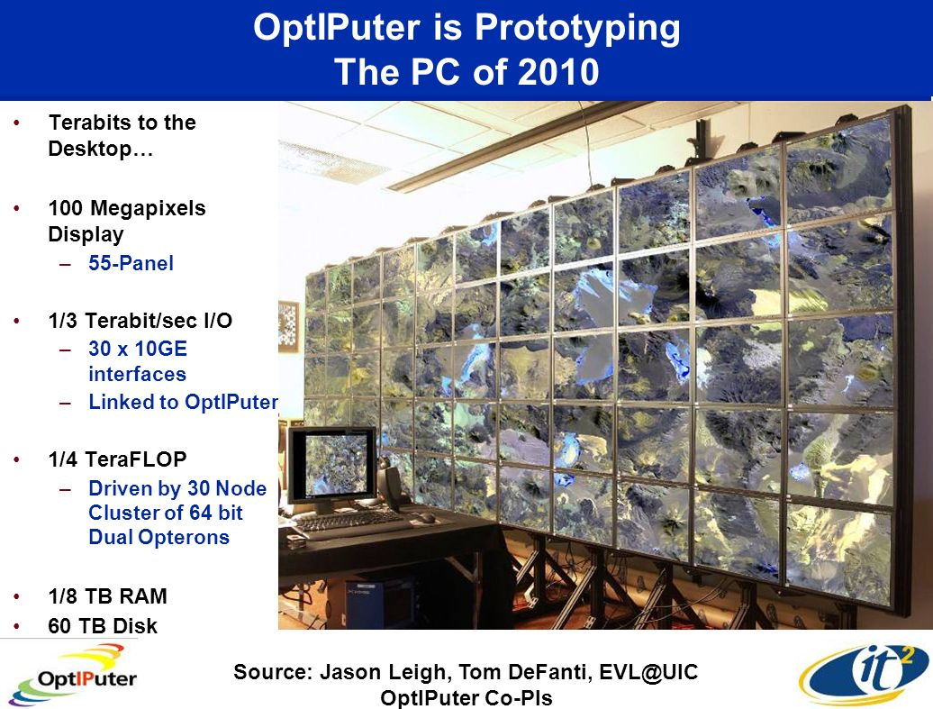 OptIPuter is Prototyping The PC of 2010 Terabits to the Desktop… 100 Megapixels Display –55-Panel 1/3 Terabit/sec I/O –30 x 10GE interfaces –Linked to OptIPuter 1/4 TeraFLOP –Driven by 30 Node Cluster of 64 bit Dual Opterons 1/8 TB RAM 60 TB Disk Source: Jason Leigh, Tom DeFanti, EVL@UIC OptIPuter Co-PIs