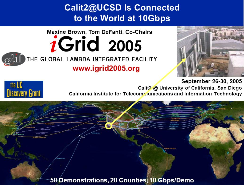 September 26-30, 2005 University of California, San Diego California Institute for Telecommunications and Information Technology Is Connected to the World at 10Gbps i Grid 2005 T H E G L O B A L L A M B D A I N T E G R A T E D F A C I L I T Y Maxine Brown, Tom DeFanti, Co-Chairs   50 Demonstrations, 20 Counties, 10 Gbps/Demo