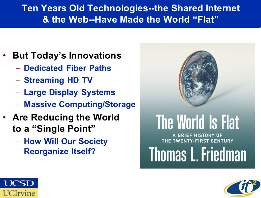 Ten Years Old Technologies--the Shared Internet & the Web--Have Made the World Flat But Todays Innovations –Dedicated Fiber Paths –Streaming HD TV –Large Display Systems –Massive Computing/Storage Are Reducing the World to a Single Point –How Will Our Society Reorganize Itself