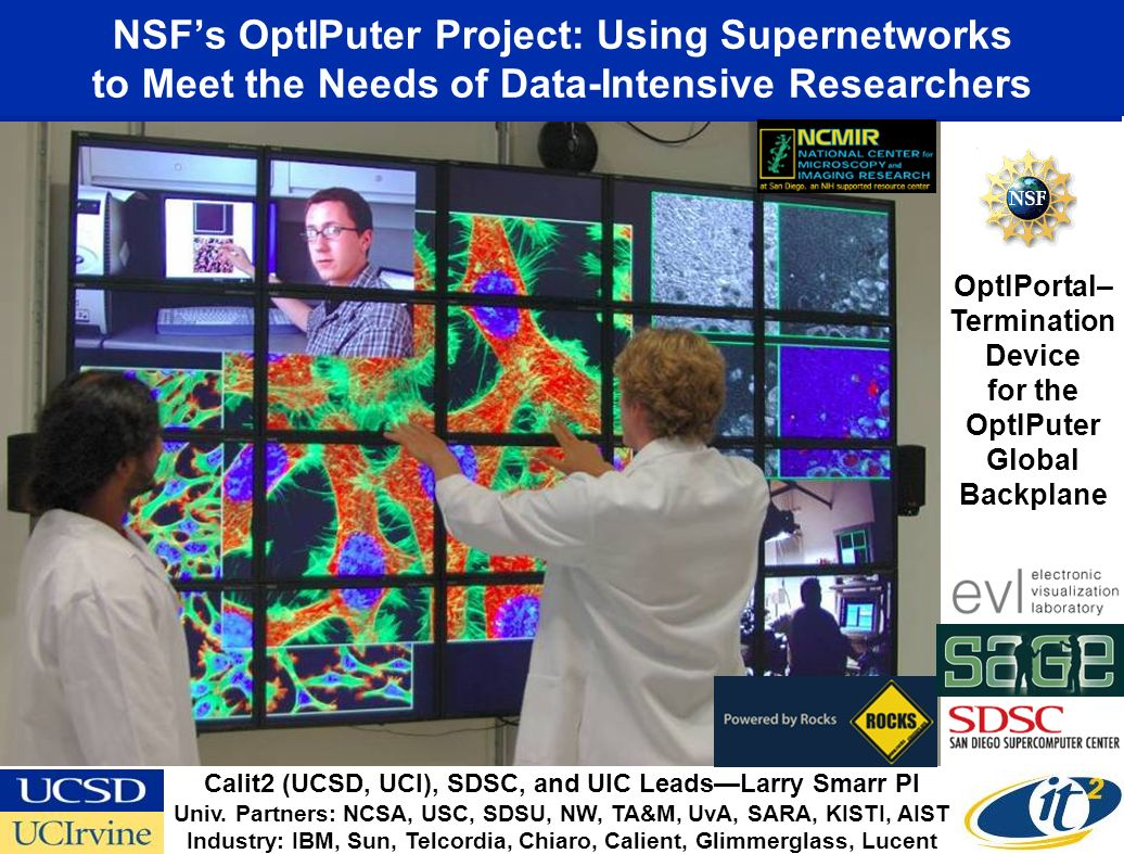 NSFs OptIPuter Project: Using Supernetworks to Meet the Needs of Data-Intensive Researchers OptIPortal– Termination Device for the OptIPuter Global Backplane Calit2 (UCSD, UCI), SDSC, and UIC LeadsLarry Smarr PI Univ.