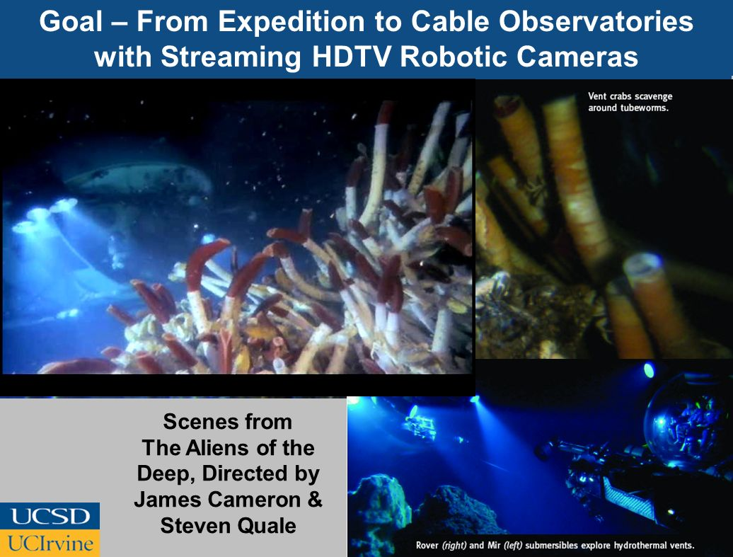 Goal – From Expedition to Cable Observatories with Streaming HDTV Robotic Cameras Scenes from The Aliens of the Deep, Directed by James Cameron & Stev