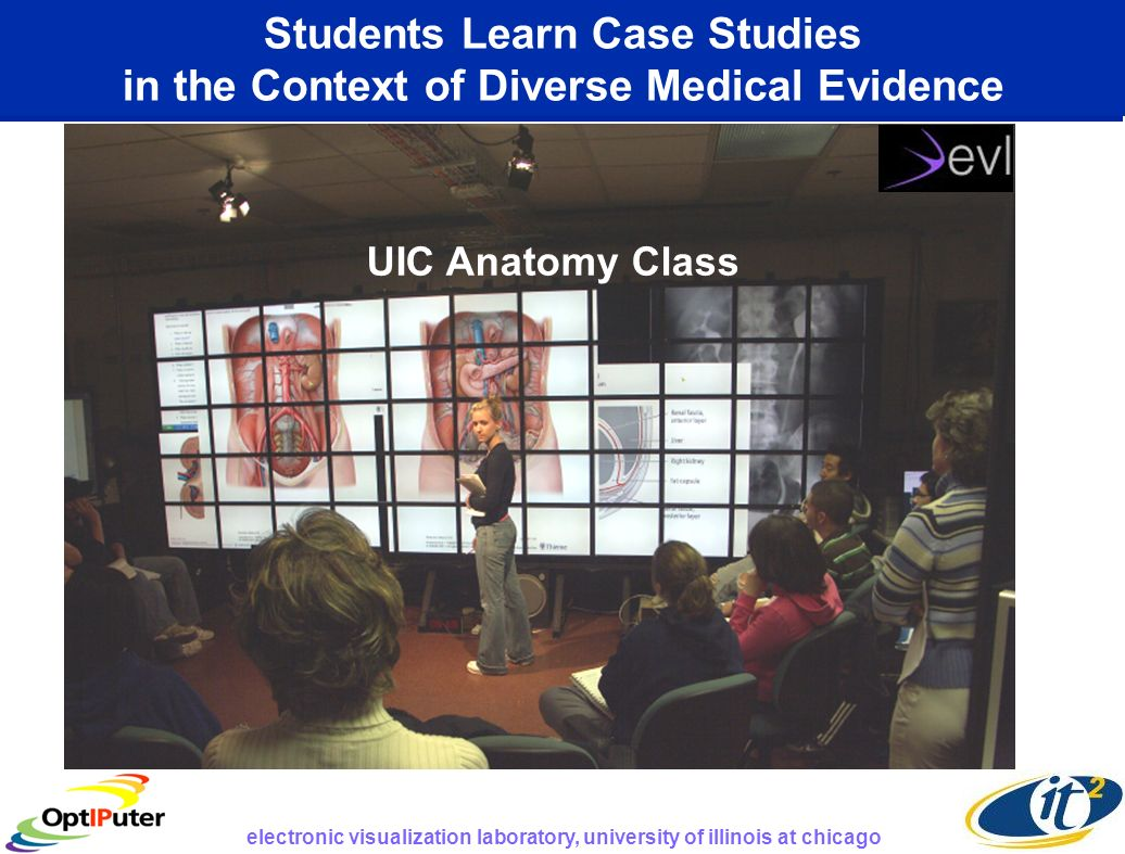 Students Learn Case Studies in the Context of Diverse Medical Evidence UIC Anatomy Class electronic visualization laboratory, university of illinois at chicago